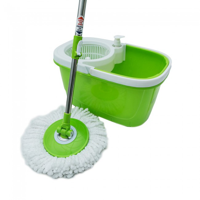PP or Stainless Steel Basket Spring Pole Microfiber Mop Head 360 Cleaning Tools