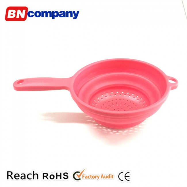 plastic storage basket red folding kitchen basket with handle for fruit